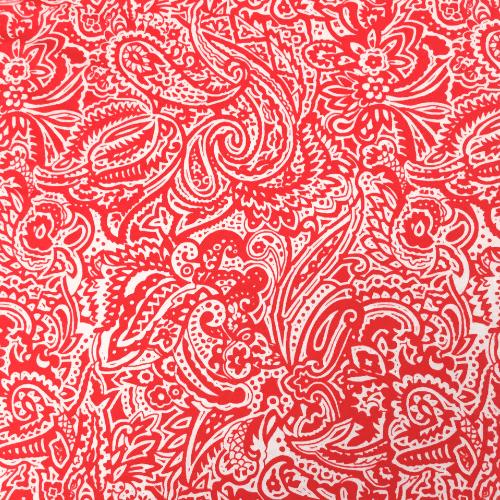 Coral Paisley Spandex, paisley fabric, orange fabric, discount fabric