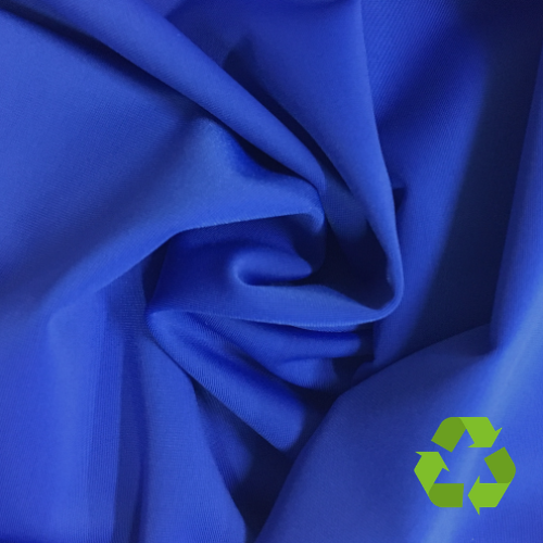 Bright Blue Virtue Repreve® Recycled Polyester Spandex, blue fabric, repreve fabric, recycled fabric, eco-friendly fabric, blue swim fabric