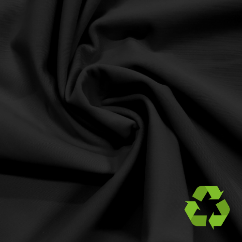 Black Valor Repreve® Recycled Polyester Spandex, Recycled fabric, valor spandex, repreve fabric, eco friendly fabric, black fabric,
