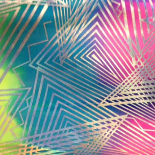 Angular Silver Hologram Tie Dye Spandex, foil fabric, tie dye fabric