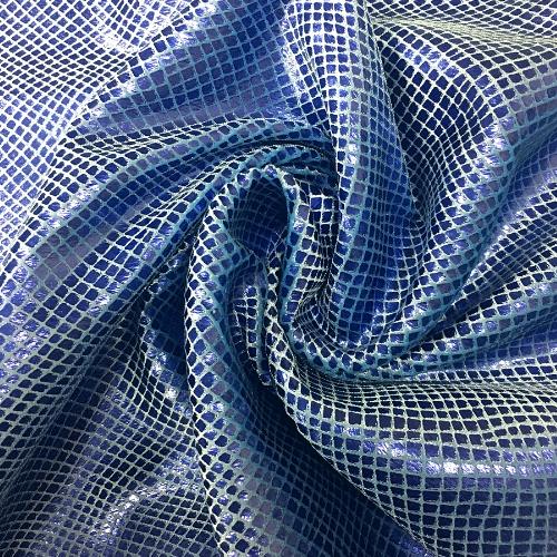 Snake Velvet Foil Spandex, snake fabric, snakeskin fabric, blue fabric
