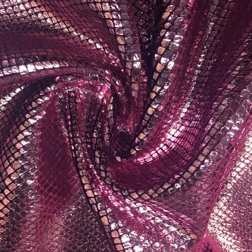 Snake Velvet Foil Spandex, snake fabric, snakeskin fabric, pink fabric