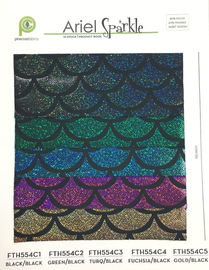 Ariel Sparkle Card, mermaid fabric, sparkly mermaid fabric, mermaid scale fabric