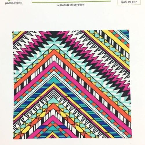 Ethnic Zig Zag Card, zig zag fabric, tribal fabric, gymnastics fabric, swim fabric