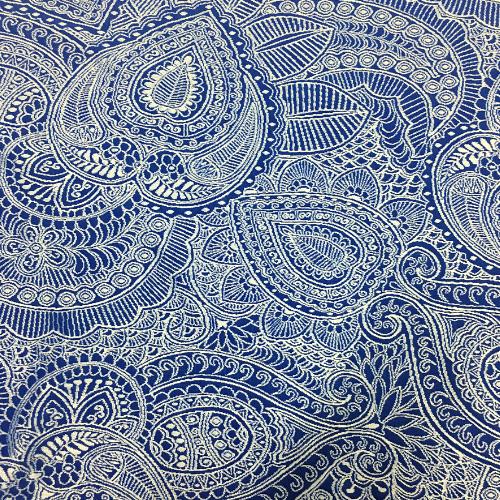 Blue Paisley Jacquard Spandex, textured fabric, paisley fabric, swim fabric