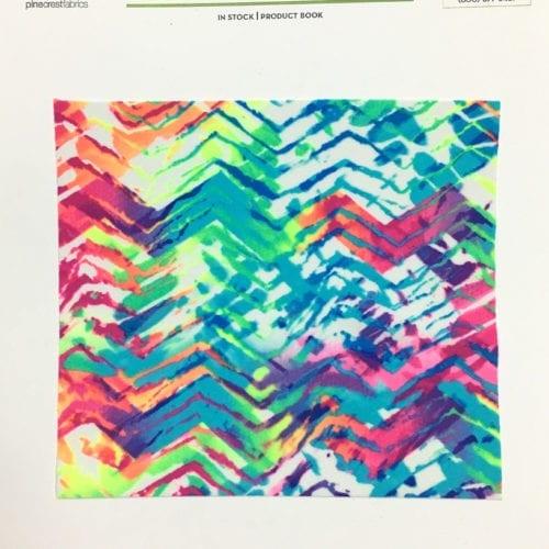 Neon Tracks Card, neon fabric, zig zag fabric, abstract fabric, swim fabric, gymnastics fabric