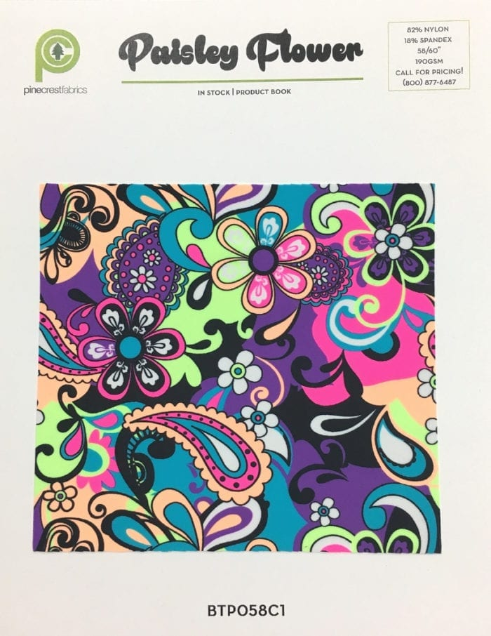 Neon Paisley Flower Card, paisley fabric, floral fabric, neon fabric, blacklight reactive fabric