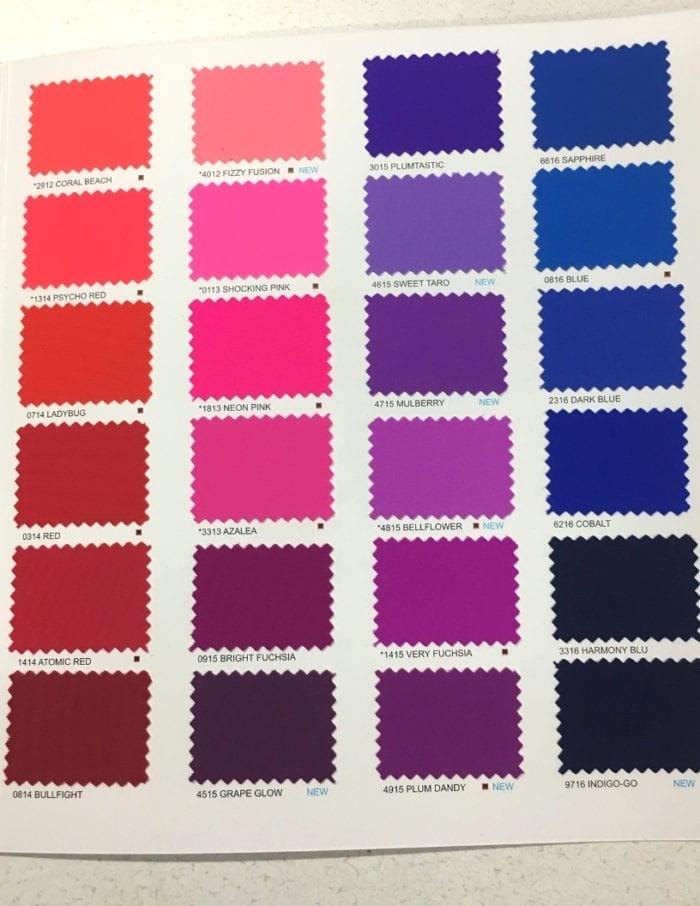 Full Kira Matte Tricot Color Card