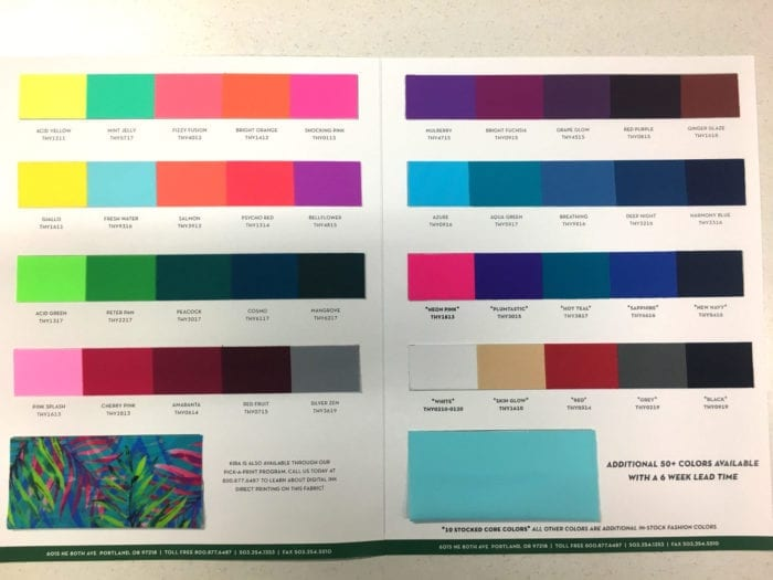 Kira Stocked Color Card, swim fabric, swatch card