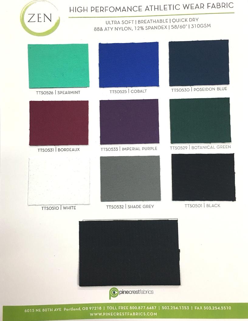 Zen Card Fabric Swatch For Activewear Pine Crest Fabrics