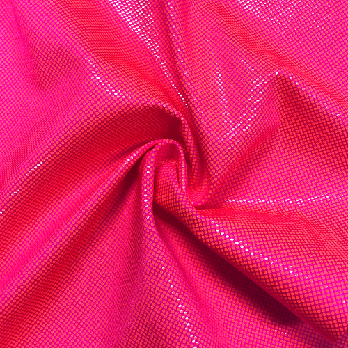 Hot Pink Neon Dot Foil Spandex, pink fabric, neon fabric, neon pink fabric, foil fabric, dance fabric, rave fabric