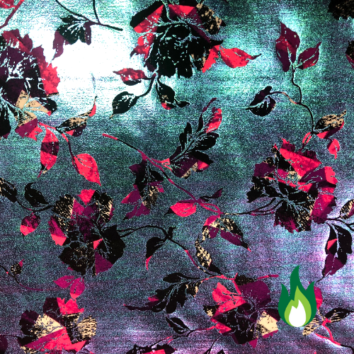Floral Iridescent Foil Spandex, floral foil fabric, flora fabric, gymnastics fabric, dance fabric