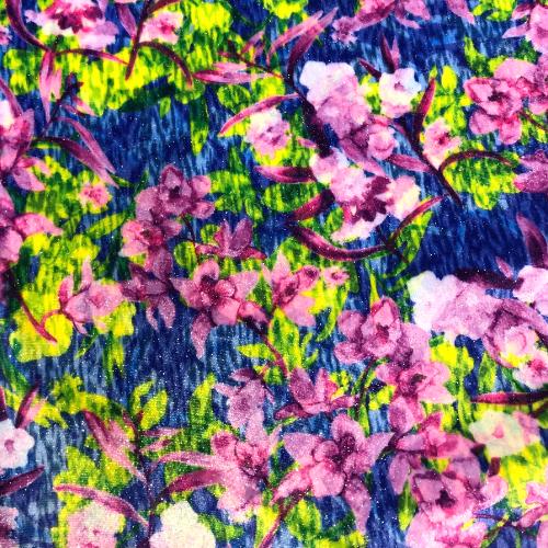Underwater Floral Twinkle Velvet Spandex, discount fabric