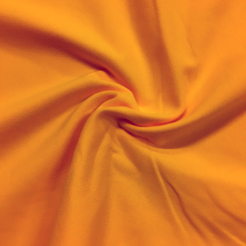 Bright Marigold Drifit Spandex, drifit fabric, orange fabric, discount fabric