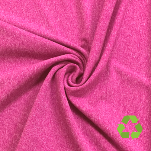 Pink Glo Recycled Polyester Spandex, reycled fabric, pink fabric, heathered fabric, discount fabric
