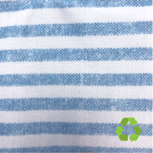 Blue Stripe Phoenix Recycled Polyester Spandex, recycled fabric, discount fabric, stripe fabric
