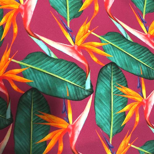 Birds of Paradise Viper Spandex, floral fabric, flower fabric, hawaiian print fabric, discount fabric, chlorine resistant fabric