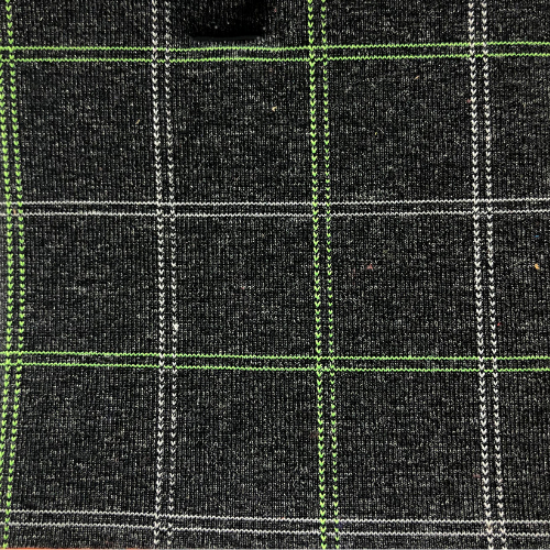 Charcoal Plaid Hybrid Spandex, heathered fabric, plaid fabric, activewear fabric, leggings fabric, discount fabric