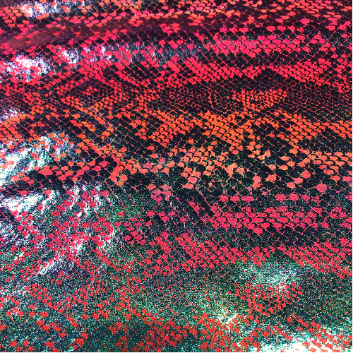 Pink Snakeskin Foil Spandex, snakeskin fabric, pink fabric, snake skin fabric, rave fabric