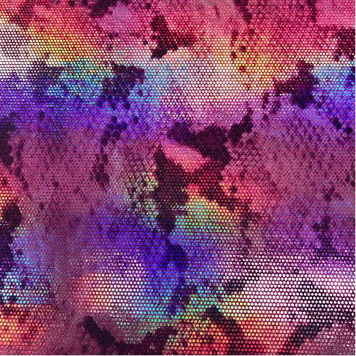 Tie Dye Snakeskin Foil Spandex, tie dye fabric,snakeskin fabric, snake skin fabric, holographic fabric, dance fabric