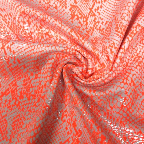 Neon Orange Snakeskin Foil Spandex, snake skin fabric, snakeskin fabric, rave fabric, dance fabric