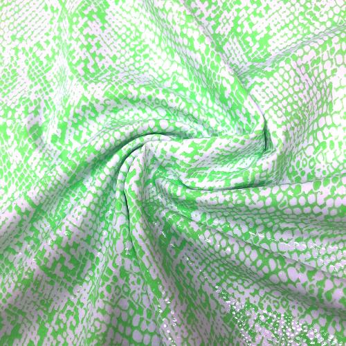Neon Lime Snakeskin Foil Spandex, snake skin fabric, snakeskin fabric, rave fabric, dance fabric