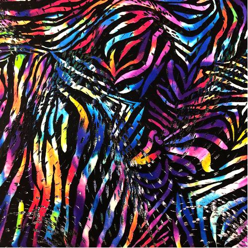Rainbow Zebra Holo Spandex, animal print fabric, zebra print fabric, zebra fabric, rainbow zebra fabric, holo fabric