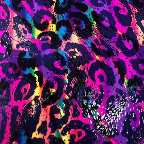 Rainbow Cheetah Holo Spandex, animal print fabric, leopard print fabric, leopard fabric, rainbow leopard fabric, holo fabric