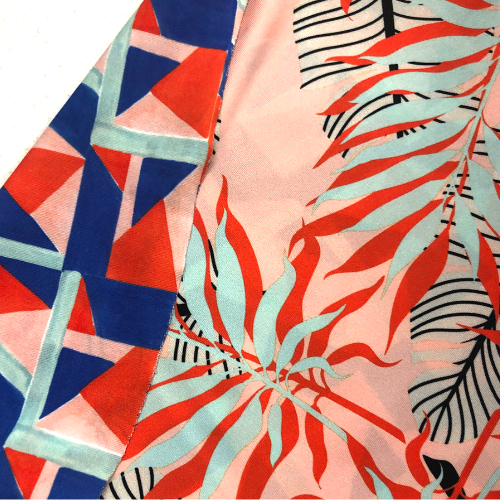 Palms Double Print Spandex, double print fabric, discount fabric, tropical fabric