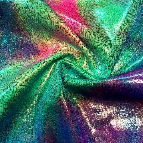 Tie Dye Clouds Iridescent Foil Spandex, iridescent foil fabric, tie dye fabric, dance fabric, gymnastics fabric