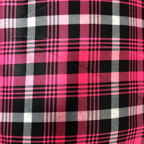 Pink Plaid Spandex, plaid fabric, discount fabric