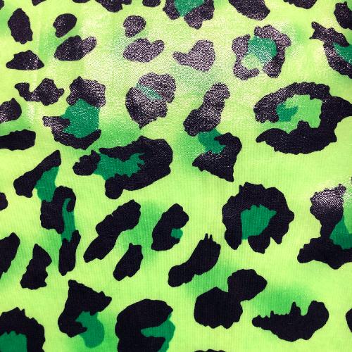Green Leopard Foil Spandex, leopard print fabric, discount fabric