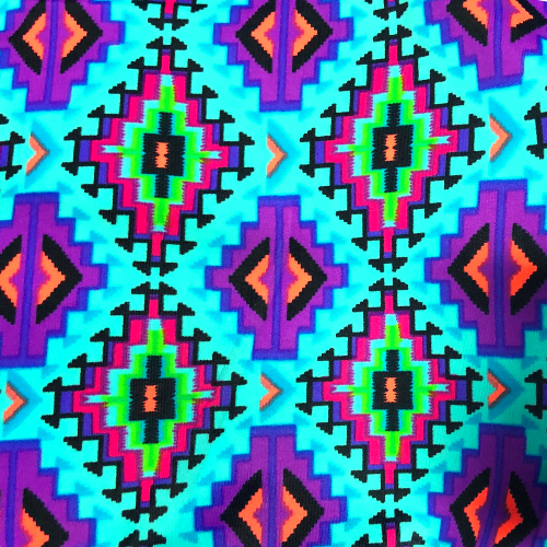 Blue Geo Spandex, aztec fabric, discount fabric