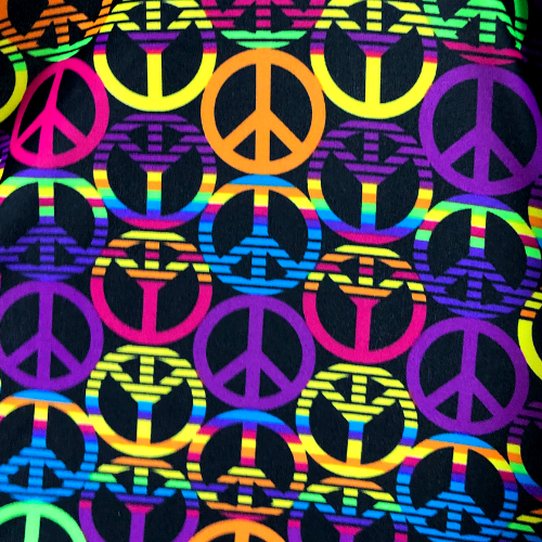 Rainbow Peace Spandex, peach sign fabric, discount fabric