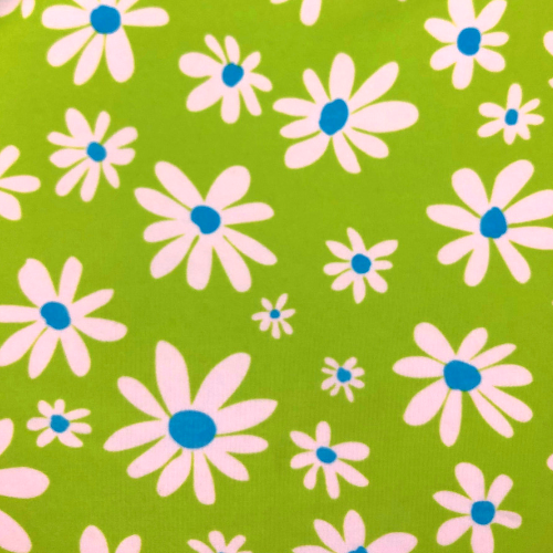 Green Flowers Spandex, floral fabric, discount fabric
