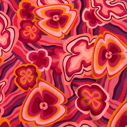 Pink Power Puff Spandex, pink floral fabric, floral fabric, discount fabric