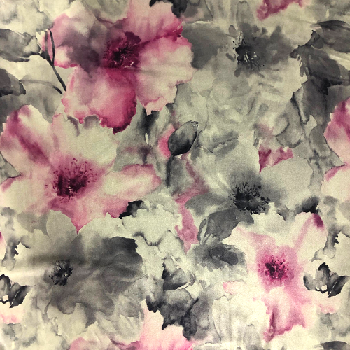 Floral Taupe Latte Spandex, taupe fabric, floral fabric, watercolor floral fabric, discount fabric
