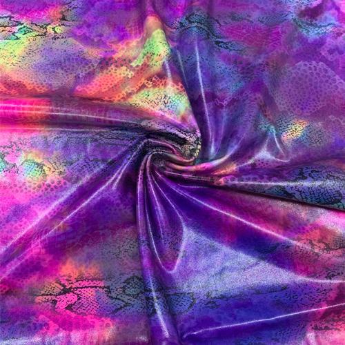Tie Dye Snake Skin Clear Foil Spandex