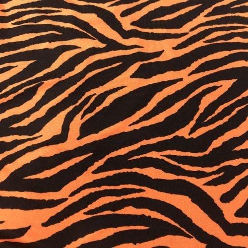 Zebra on Orange Shiny Tricot